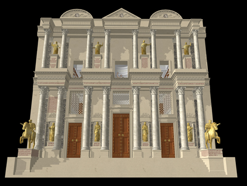 The Library of Celsus, Ephesus. Modern Austrian archaeologists have re-erected the facade, and this digital model adds interior and exterior features. (image © Dr Matthew Nicholls)