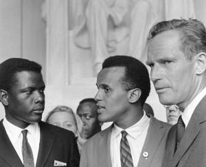 Sidney Poitier, Harry Belafonte and Charlton Heston at the 1963 March on Washington.